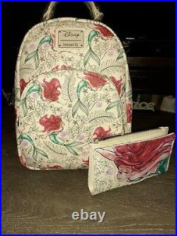 Ariel Sketch The little mermaid loungefly Backpack&wallet NWT