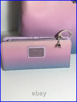 DISNEY Loungefly The Little Mermaid Ombré Dinglehopper Satchel & Wallet