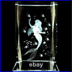 Disney Little Mermaid Ariel 3D Crystal Glass Music Box Figure Ornament Japan