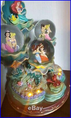 Disney Little Mermaid Ariel Snowglobe 3 Globe Daughters of Triton Light Up RARE