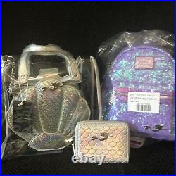 Disney Little Mermaid Purple Ariel Sequin Loungefly Lot NEW WITH TAGS