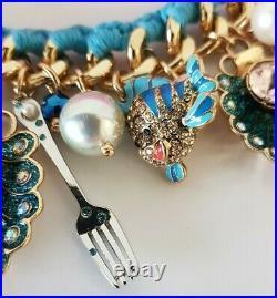 Disney Parks The LITTLE MERMAID Ariel Charm Bracelet by BETSEY JOHNSON + Bag NEW