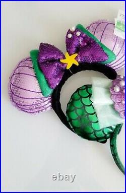 Disney Parks The Little Mermaid Seashell Ariel Minnie Ear Headband Set