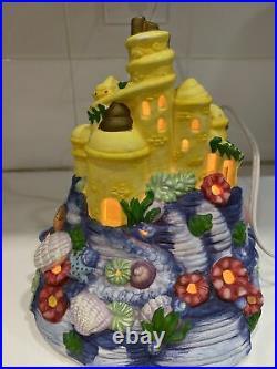 Disney RARE Little Mermaid Porcelain Village Castle Light Up Christmas Village