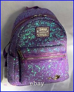 Disney The Little Mermaid Ariel Sequin Mini Backpack Loungefly Purple Holo NWT