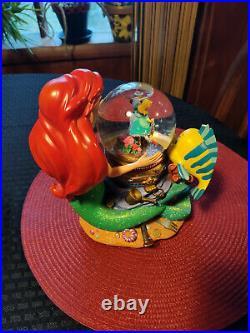Disney snowglobe little mermaid wind up musical globe plays Under the Sea tune