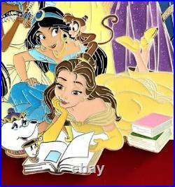 LE 100 Disney Pin Tiana Mulan Pocahontas Belle Ariel Rapunzel SUPER JUMBO Acme