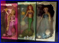 Lot of 3 Disney Deluxe Singing Ariel Doll Little Mermaid 16 -Rapunzel-Elsa LAST