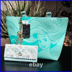 Loungefly Disney Ariel The Little Mermaid Aqua Tote & Under the Sea Wallet Set