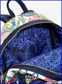 Loungefly Mini Backpack Disney Ariel Little Mermaid Under the Sea Flounder NEW