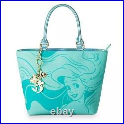 Loungefly The Little Mermaid Ariel Aqua Tote Disney Handbag Purse Charms NEW