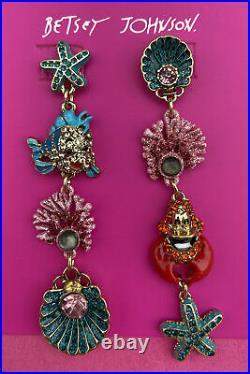 NEW Disney Parks Betsey Johnson The Little Mermaid Dangle Earrings