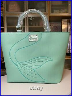 NEW HTF Loungefly The Little Mermaid Ariel Aqua Tote Disney Handbag Purse Charms