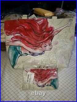 NWT Loungefly Little Mermaid ARIEL Seashell Tote Bag Purse & Matching Wallet