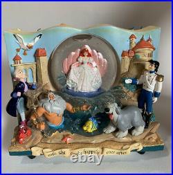 RARE Disney Little Mermaid Book Double Sided Musical Under The Sea Snow Globe