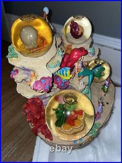 Rare Disney The Little Mermaid Snow Globe Musical Under The Sea Music Box Mint