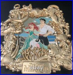 The Little Mermaid Ariel Gold Frame Jumbo Fantasy Pin LE 45 Eric Max Flounder